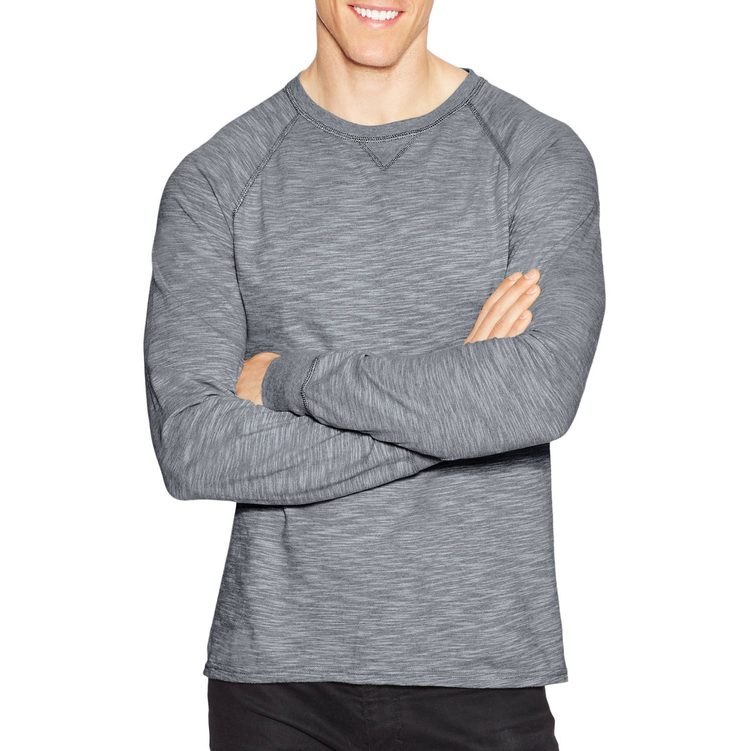 Hanes Big Men's Long Sleeve Slub Jersey T-shirt