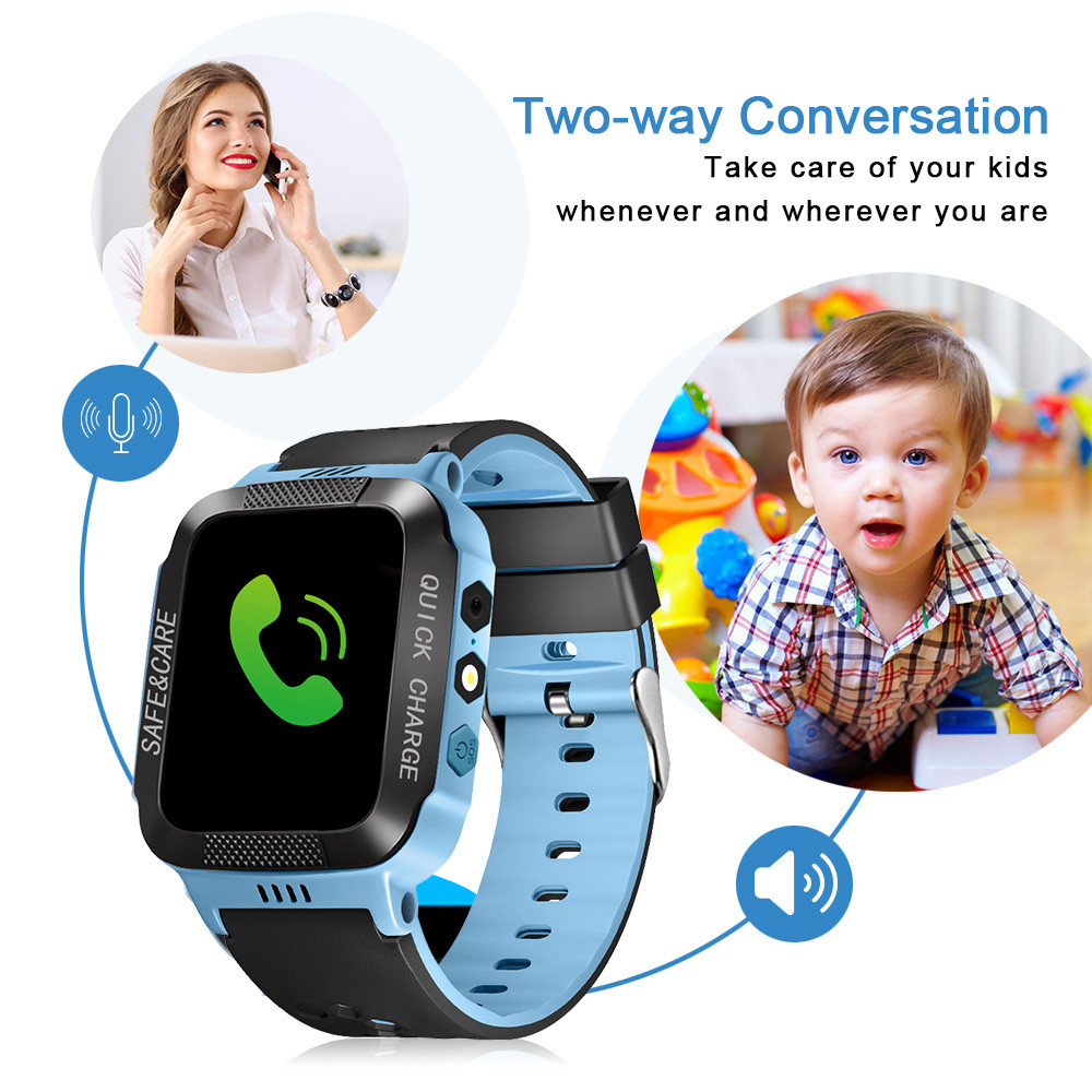 Kids Smart Watches with GPS Tracker Phone Call for Boys Girls Digital Wrist Watch, Sport Smart Watch, Touch Screen Cellphone Camera Anti-Lost SOS Learning Toy for Kids Gift (Blue&Black)