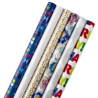 Hallmark All Occasion Wrapping Paper Bundle with Cut Lines on Reverse, Solids & Patterns, Birthday, Holiday, Wedding (Pack of 6, 180 sq. ft. ttl.)