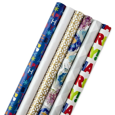 Hallmark All Occasion Wrapping Paper Bundle with Cut Lines on Reverse, Solids & Patterns, Birthday, Holiday, Wedding (Pack of 6, 180 sq. ft. ttl.) Anniversary Wedding Gift Wrap
