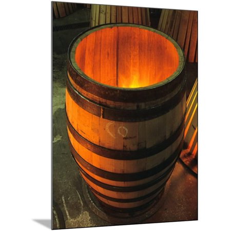 Toasting a New Oak Wine Barrel at the Demptos Cooperage, Napa Valley, California, USA Wood Mounted Print Wall Art By John Alves