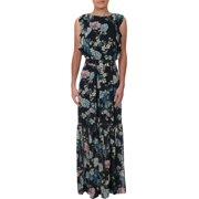 Vince Camuto Womens Chiffon Floral Maxi Dress Navy 10
