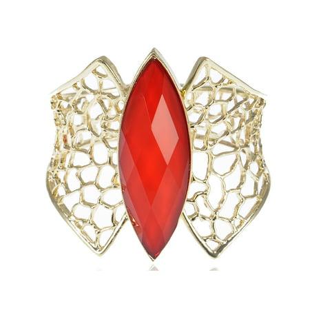 Golden Tone Metal Honeycomb Design Red Gemstone Accented Adjustable - Jewel Toned