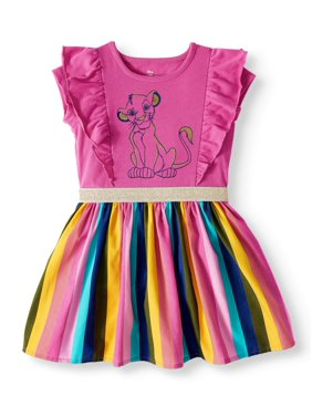 The Lion King Short Sleeve Ruffle Dress with Rainbow Skirt (Toddler Girls)