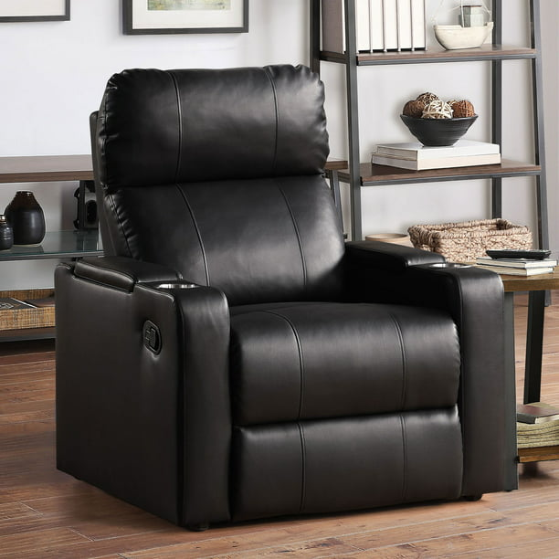 Mainstays Home Theater Recliner with USB charging ports and In-Arm Storage, Black Faux Leather