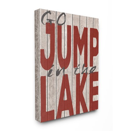 The Stupell Home Decor Collection Go Jump In The Lake Country Typography Red Stretched Canvas Wall Art, 30 x 1.5 x 40