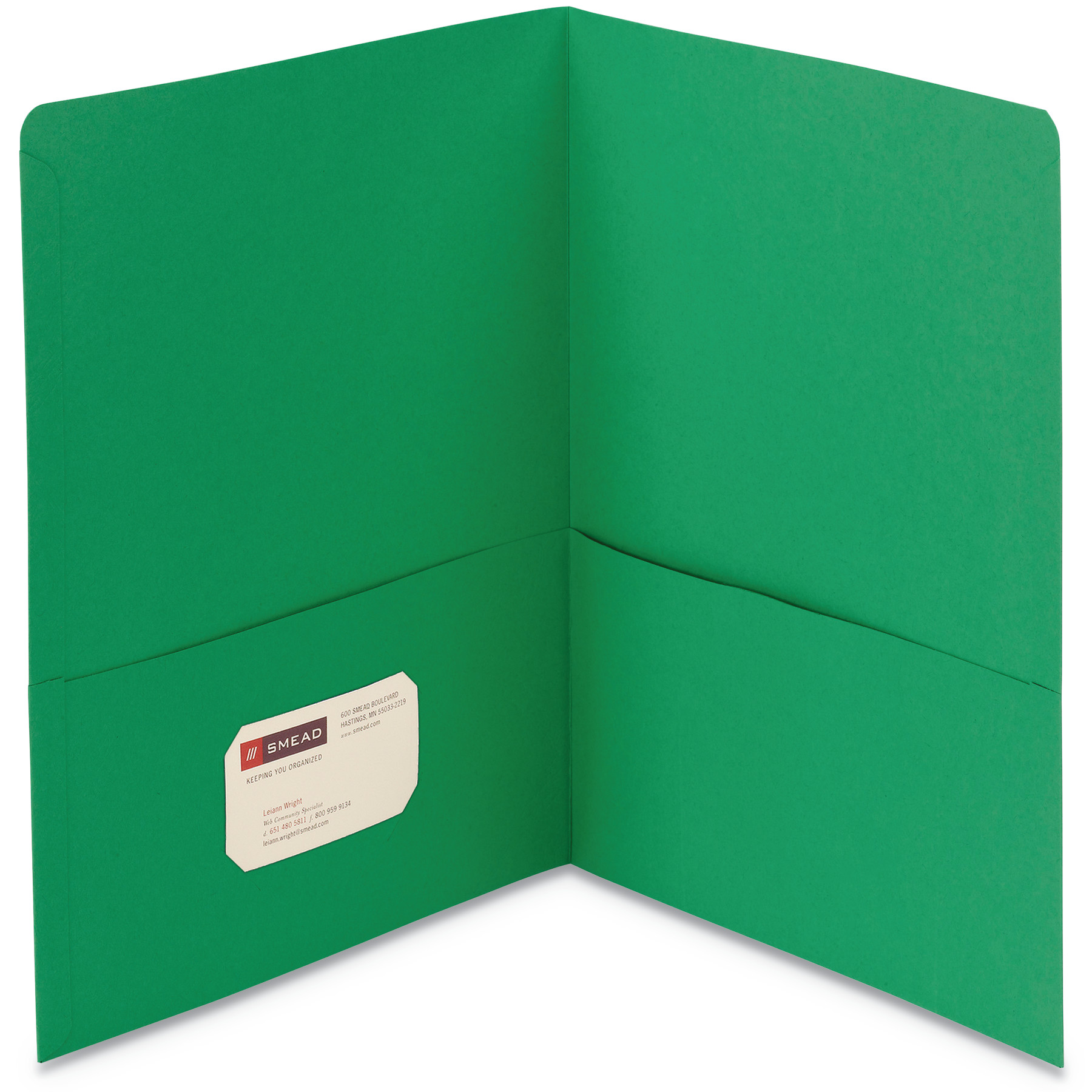 Smead Two-Pocket Folder, Textured Paper, Green, 25/Box -SMD87855