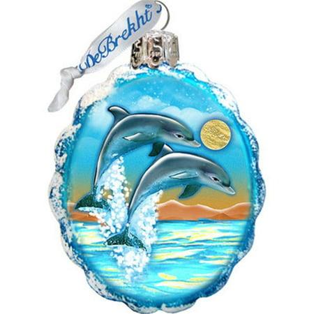 GDeBrekht 777373 Flower Dolphins Coastal Glass Ornament