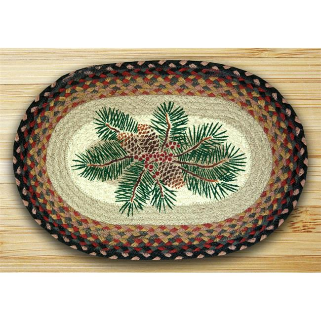Earth Rugs 48-083PRB Oval Shaped Placemat, Pinecone Red Berry