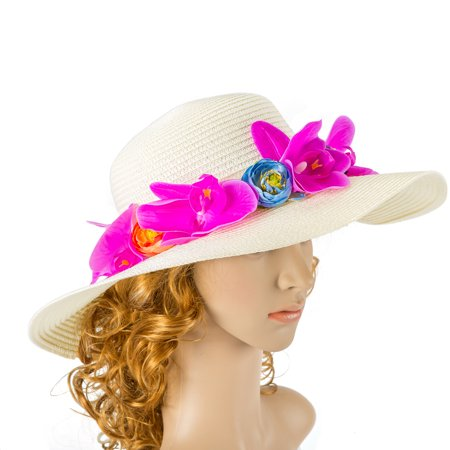 24c0d604b9683 Off White Wedding Hat With Orchid Flower And Bow Kentucky Derby Hat Wedding  Accessory Cocktail Hat Tea Party Hat - Walmart.com