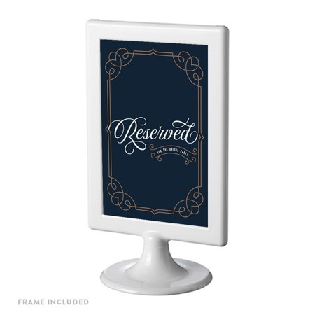 Vintage Bridal (Navy Blue Art Deco Vintage Framed Party Signs, Reserved for the Bridal Party, 4x6-inch, Includes)