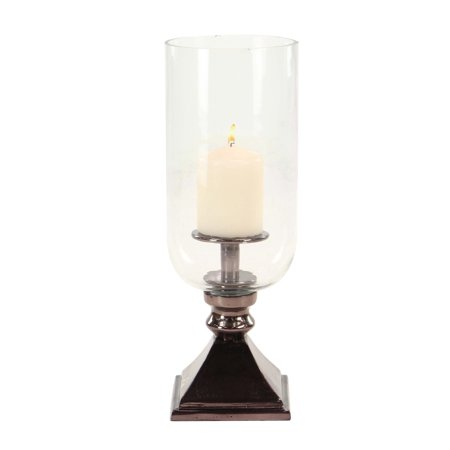 Decmode 17 Inch Modern Aluminum and Glass Bronze Votive Hurricane Candle Holder, (Bronze Hurricane)