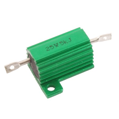 Ohm 25 Watt Wirewound Resistor - Chassis Mounted 25 Watt 5K Ohm 5% Aluminum Case Wirewound Resistor