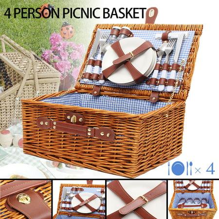 4 Person Wicker Picnic Basket Hamper Set Flatware Plates Wine Glasses Blanket Christmas Outdoor Lunch (Christmas Flatware)