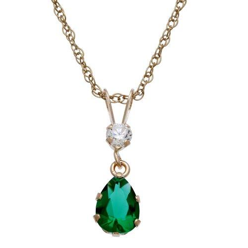 Sim Emerald Pear Dangle Pendant W/cz