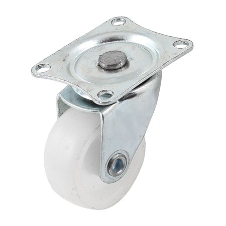 Unique Bargains Metal Flat Plate Single White Rubber Wheel Fixed Caster for Hand Trolley