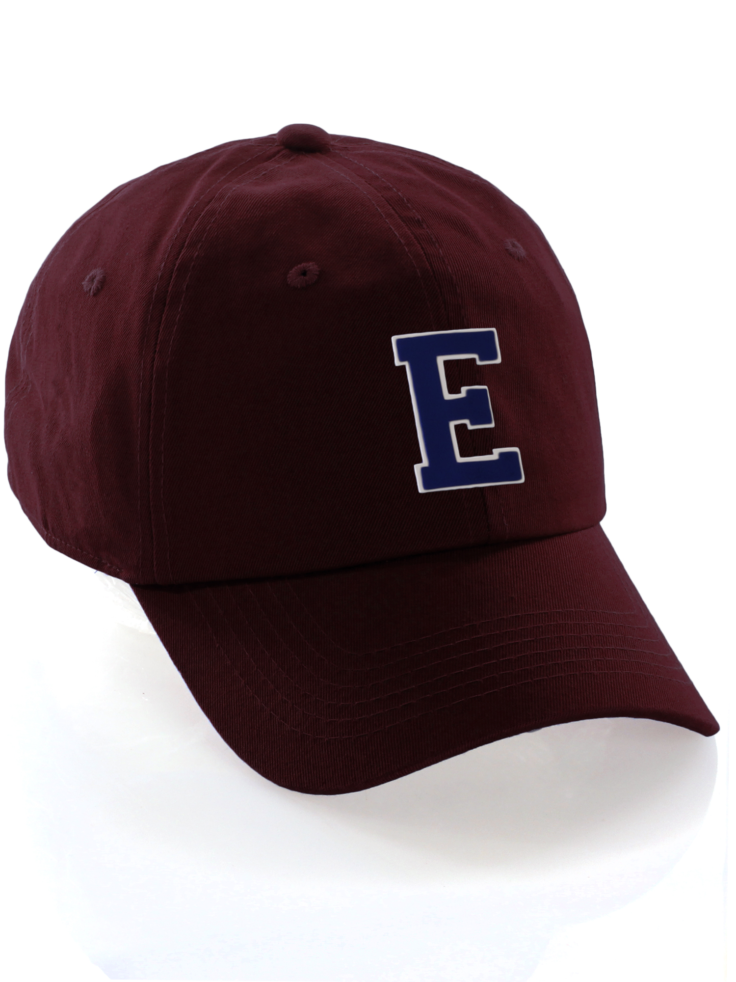 13e590400 Custom Dad Hat A-Z Initial Raised Letters Classic Baseball Cap, Burgundy Wh  Navy