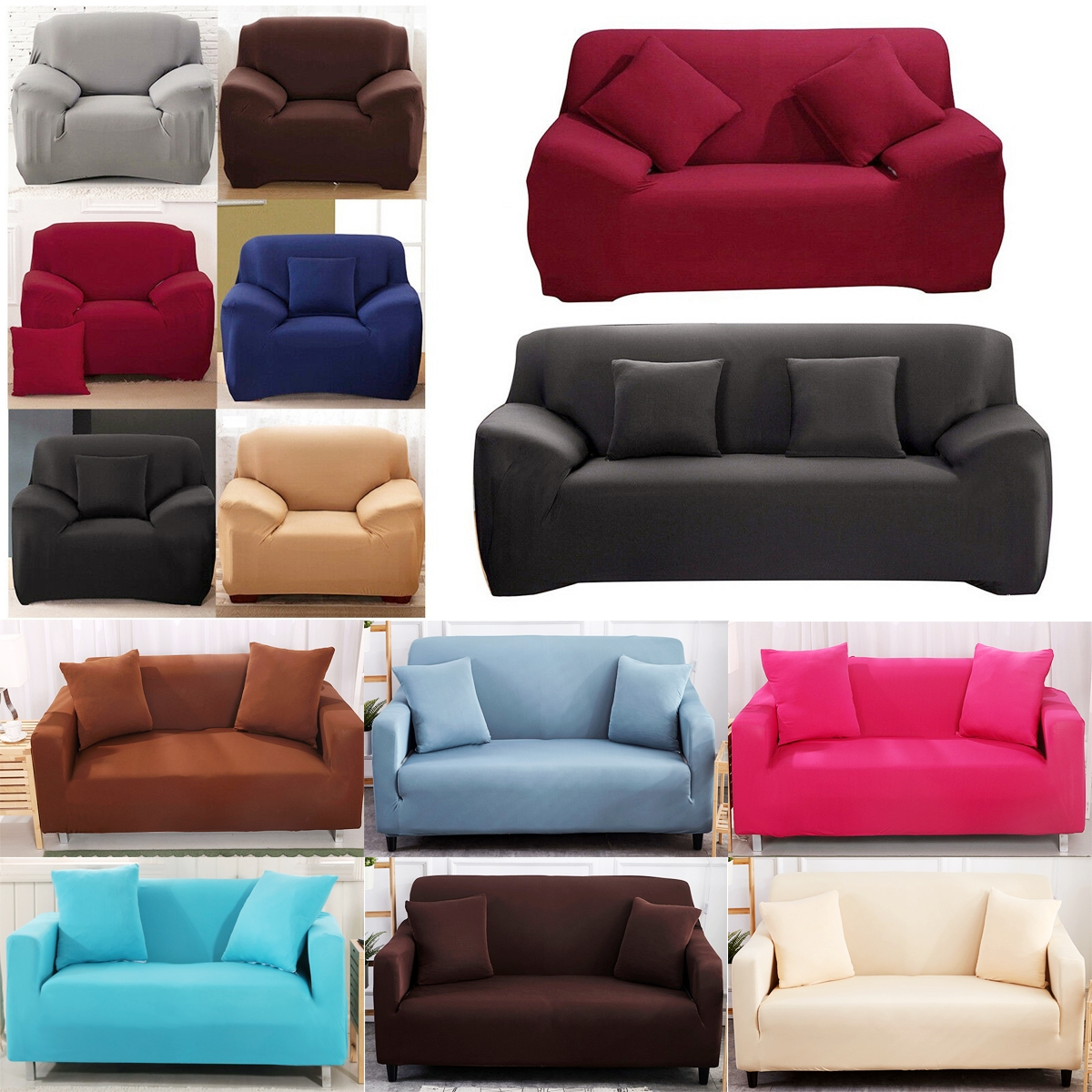 High Stretch Recliner Chair Covers Couch Solid Slipcover Furniture Protector