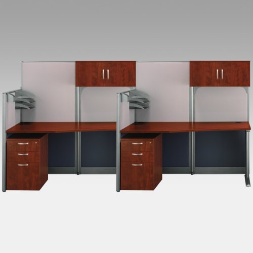 Bush Office-in-an-Hour Double Computer Desk with Storage