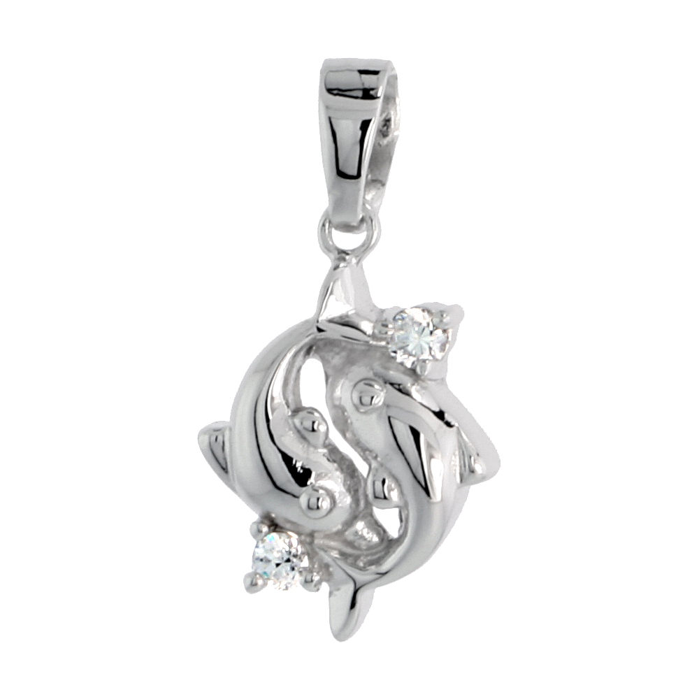 """Sterling Silver Jeweled Dolphin Pendant, w/ Cubic Zirconia stones, 5/8"""" (16 mm)"""