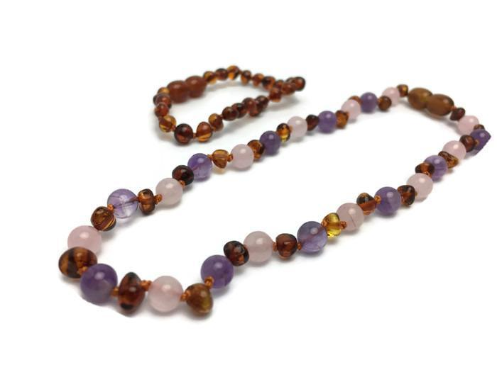 28-36 cm 10 pcs of Cognac Amber Baby Necklaces mixed with Amethyst Gemstone Beads Baltic Amber Wholesale LOT Available in 11-14.2