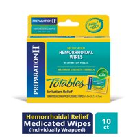 Preparation H Totables Medicated Hemorrhoid Wipes and flushable Wipes with Witch Hazel 10 ct Box