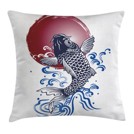 Ocean Animal Decor Throw Pillow Cushion Cover, Ornate Japanese Brocaded Carp Fin with Red Circular Form Eastern Fresh Graphic, Decorative Square Accent Pillow Case, 16 X 16 Inches, Blue, by Ambesonne