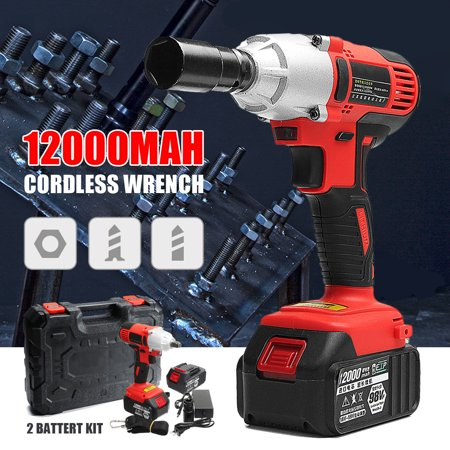 400Nm 98V Cordless Lithium-Ion Electric Impact Wrench Brushless Motor+2 Battery Portable Christmas