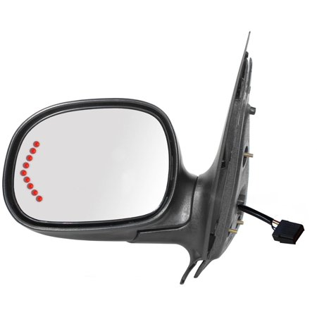 61208F - Fit System Driver Side Mirror for 98-02 Ford Expedition, 00-02 Lincoln Navigator. LED Arrow Turn Signal, black w/ PTM cover, foldaway, Power - Ford Expedition Side Mirror