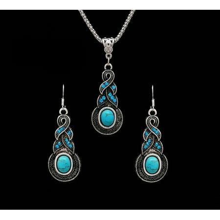Necklace Pendant Brooch Earrings (Necklace Earrings Women Ethnic Blue Crystal Tibetan Silver Pendant Necklace Earrings Turquoise Jewelry)