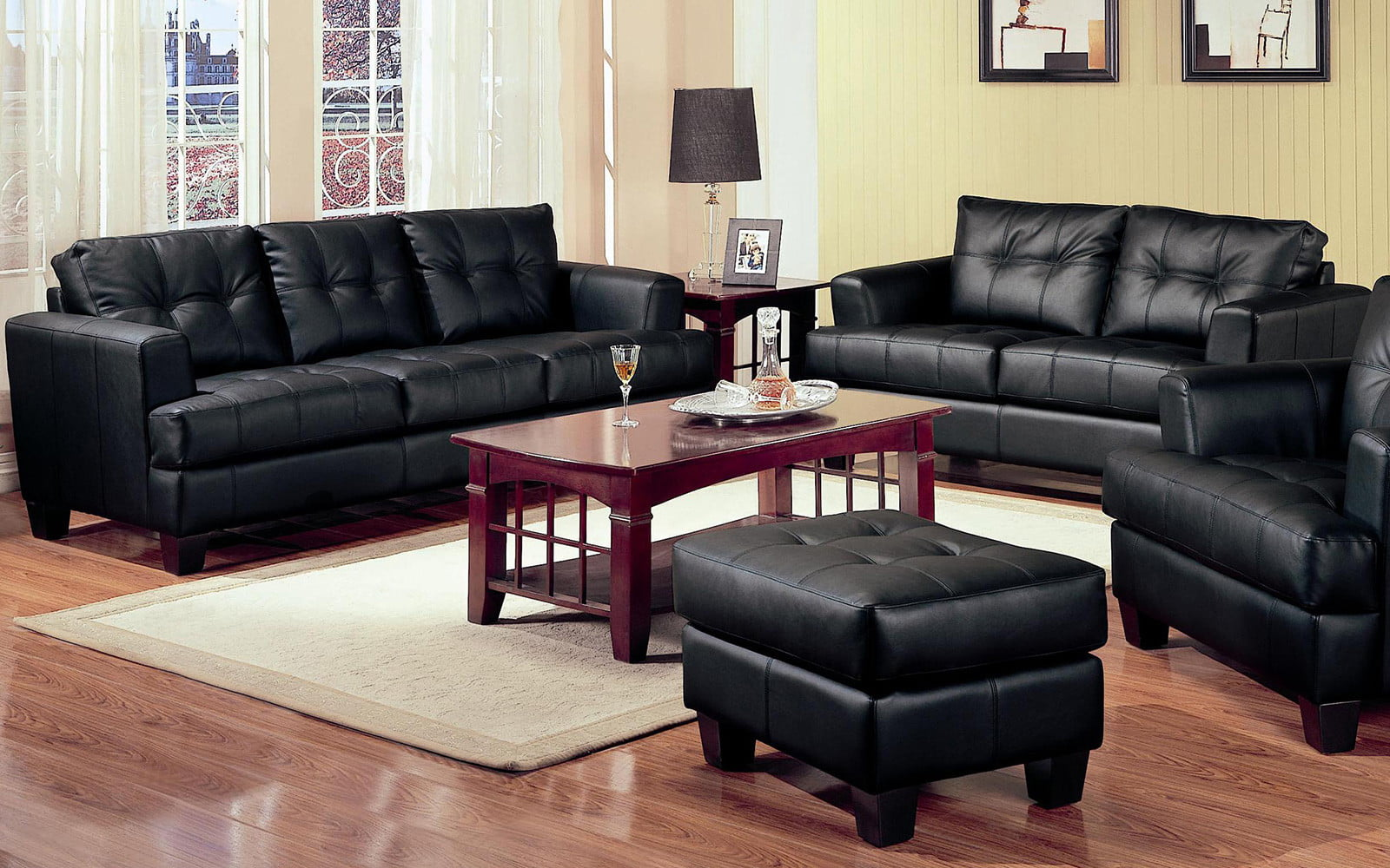 2 Piece Modern Black Bonded Leather Sofa and Loveseat Livingroom