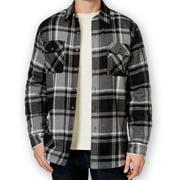 Club Room NEW Black Gray Mens Size Large L Plaid Button-Front Shirt Jacket $75