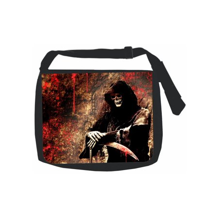 Bloody Devil Skeleton Skull Grim Reaper - Black Laptop Shoulder Messenger Bag and Small Wire Accessories Case Set
