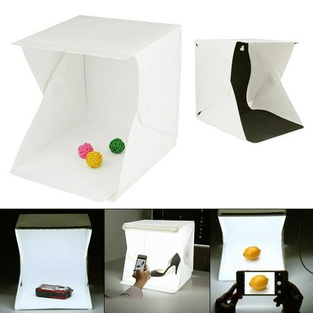 Portable Shooting Kit - Portable Photo Studio Shooting Tent, Small Foldable LED Light Box Softbox Kit with Black Backdrops for Photography