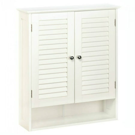Bathroom Wall Cabinets, White Wooden Shuttered Door Nantucket Wall Cabinet ()