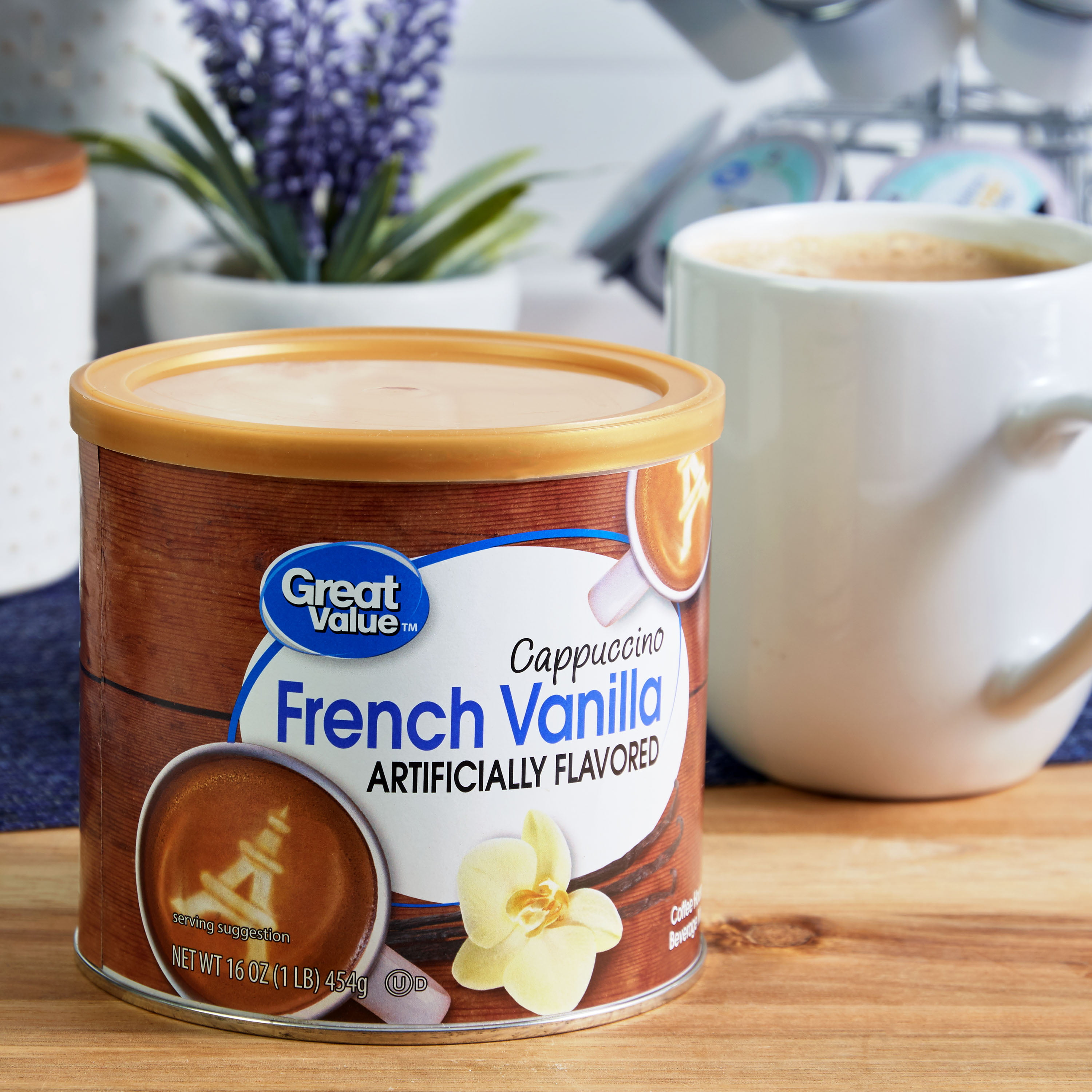 (3 Pack) Great Value Cappuccino Beverage Mix, French Vanilla, 16 oz