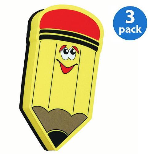 (3 Pack) Ashley, ASH10014, Pencil Design Magnetic Whitebd Eraser, 1 Each, Yellow,Black