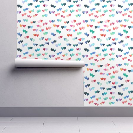Wallpaper Roll or Sample: Watercolor Heart Hearts Love Cute Valentines Day