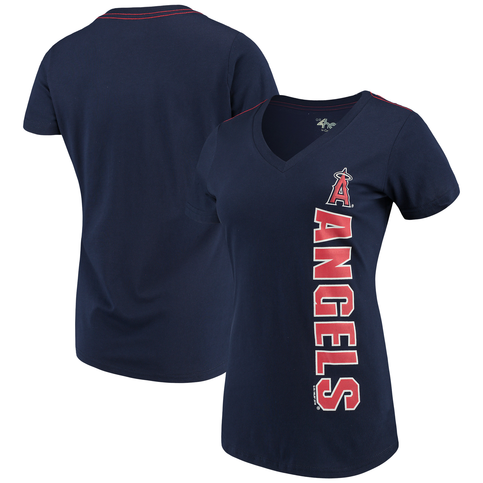 Los Angeles Angels G-III 4Her by Carl Banks Women's Asterisk V-Neck T-Shirt - Navy