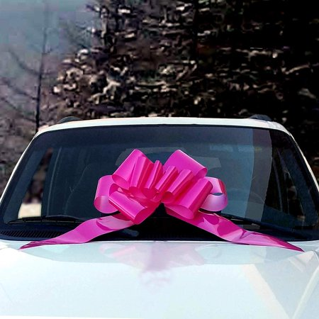 Breast Cancer Awareness Bows (Big Car Bow Gift Ribbon - Large Decoration, Hot Pink Fuchsia, Fully Assembled, 25
