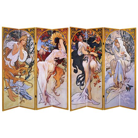 Oriental Furniture 6 Ft tall Double Sided Four Seasons Canvas Room Divider, 4 panel ()