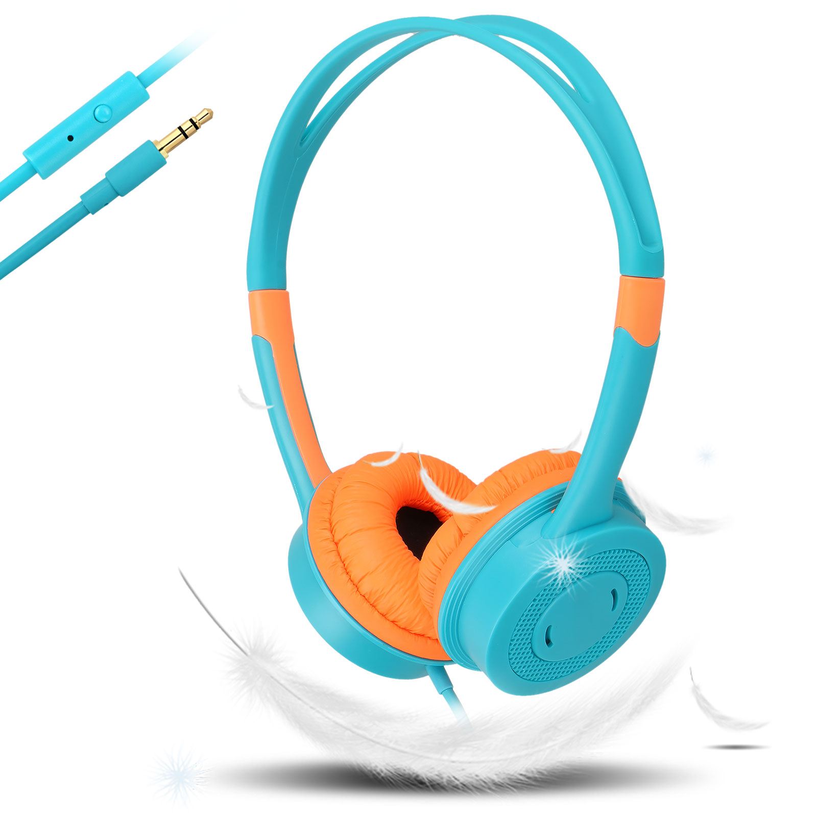 EEEKit Wired On-Ear Headphones Universal Compatibility Headser for Children, Kids, Toddler,  Children Friendly Material, Tangle-Free Cord