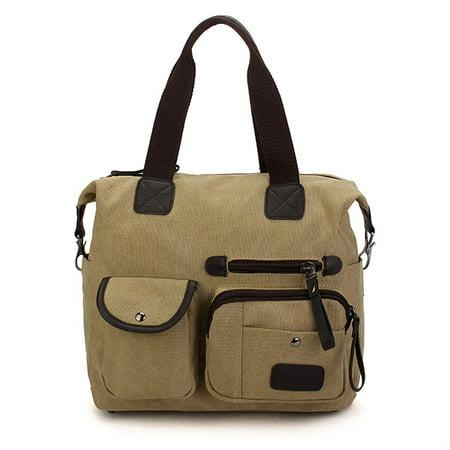 Vintage Canvas Bag, Men Women Shoulder Messenger Bags women bags Handbag Tote, 36 x 28 x 10 cm for Travelling Shopping - image 2 de 2