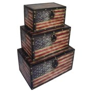 3-Pc US Flag Small Trunk
