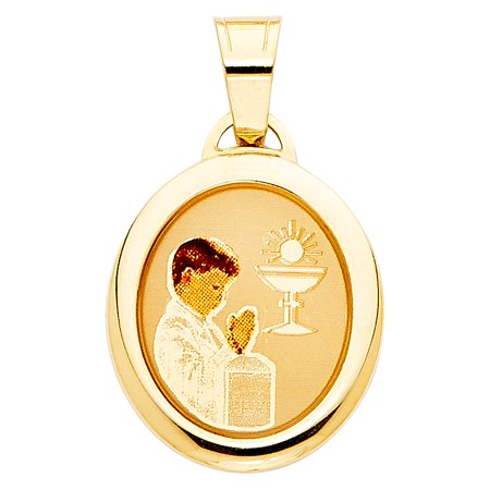 First Communion Medal Pendant - Jewels By Lux 14K Yellow Gold First Communion Picture Medal Boy Pendant 19mm X 15mm