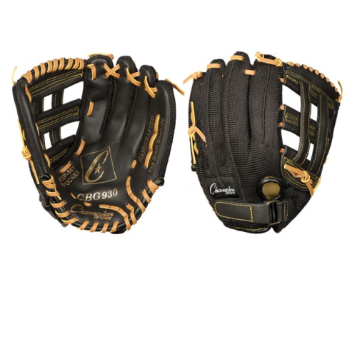 Champion Sports Baseball Softball Glove for Right Hand, Leather & Nylon 10'' by Champion Sports