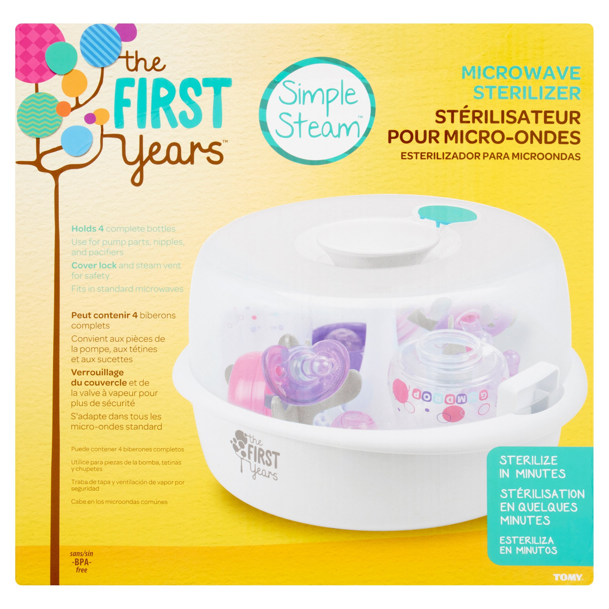 The First Years Simple Steam Microwave Sterilizer, Pacifier & Bottle Cleaner by The First Years