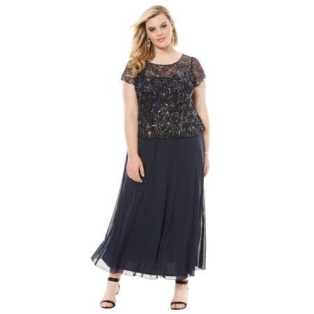 545e680c4015d Roamans - Plus Size Sequin Bodice Dress By Pisarro Nights - Walmart.com