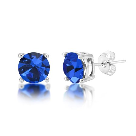 September Birthstone 7mm Sapphire Blue Crystal Silver Plated Stud Earrings Blue Sapphire Crystal Earrings