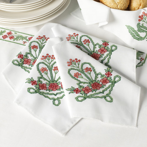 Stamped Cross Stitch Napkins 16 Inch X 16 Inch Set Of 4-Victorian